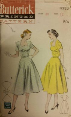 Vintage butterick 6355 dress sweetheart 1950s extremely rare size 12 by CouturePapillon on Etsy