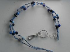 Avainnauha #16 by Miss Piggy / Key chain, ID holder, made with wooden beads and waxed cord