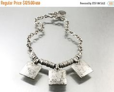 25% OFF Vintage Turkish Ethnic Sterling Silver Necklace 925 Silver Sterling Bead Necklace geometric square necklace. Big chain Sterling ne by TheOldJunkTrunk