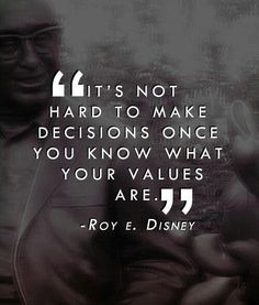 It's not hard to make decisions once you know what your values are - Roy E. Disney