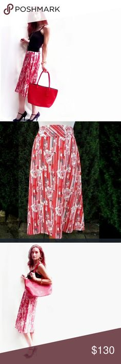 """Vintage Red Mod Floral Pencil Skirt- Small Outstanding, Chic Vintage Red Mod Italian Deco Floral Pencil Skirt- Size Small. Cotton blend, with a little spandex for your curves! Measurements laying flat: length- 27.5"""", waist 13"""", hips- 20"""". Perfect transition skirt from summer to fall, in excellent condition. Vintage Skirts Midi"""