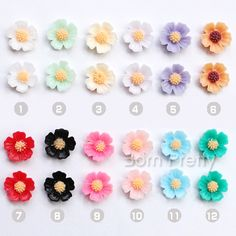 $0.59 5Pcs/set Five Petals Pear Flower Nail Studs Colorful Floral 3D Nail Art Decoration - BornPrettyStore.com
