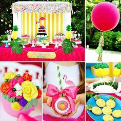 Flamingos & Pineapples Birthday Party by Via Blossom i