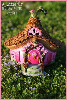 Pink+Rose+Fairy+Cottage++OOAK++Gourd+Polymer+door+OctoberMoonArt,+$165,00