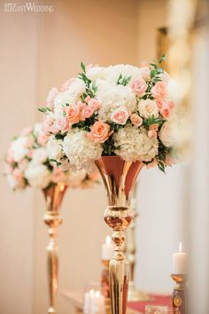 Romantic pink and rose gold centrepieces