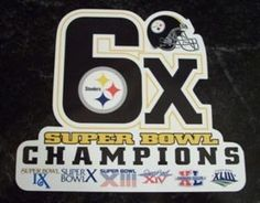 Pittsburgh Steelers 6X Super Bowl Champs NFL Car Magnet (Quantity of 1) [Misc.] by Hall of Fame Memorabilia. $14.99. Pittsburgh Steelers Magnet Steeler Nation, Pittsburgh Steelers, Car Accessories, Super Bowl, Champion, 4 Life, Sports, Nfl, Florida