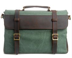 Hynes Eagle Retro Business Briefcases Canvas Leather Messenger Bag (Coral Green) ** Tried it! Love it! Click the image. : Christmas Luggage and Travel Gear