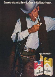 Marlboro Come To Marlboro Country 1970 Dark - Mad Men Art: The Vintage Advertisement Art Collection Retro Advertising, Retro Ads, Vintage Advertisements, Vintage Ads, Vintage Posters, Vintage Designs, Marlboro Cowboy, Marlboro Man, Men Smoking Cigarettes