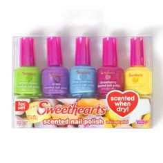 Sweethearts Scented Nail Polish Set of 5 Nail Polish Sets, Nail Polish Designs, Cool Nail Designs, Hello Kitty Toaster, Disney Fancy Dress, Hair Dryer Brands, Healthy Travel Snacks, Diy Lip Gloss, Cute Dresses For Party
