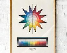 #Vintage #Bauhaus #Color theory poster | Johannes Itten, 1921 Lithograph. | Art classroom printable wall art | Color wheel poster Bauhaus Colors, Art Classroom, Handmade Shop, Handmade Gifts, Free Prints, Color Theory, Kugel, As You Like, Printable Wall Art