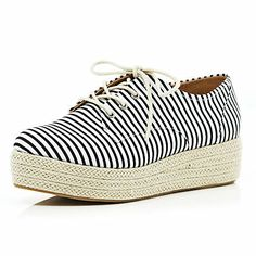 Black stripe espadrille lace up flatforms - flatforms / creepers - shoes / boots - women
