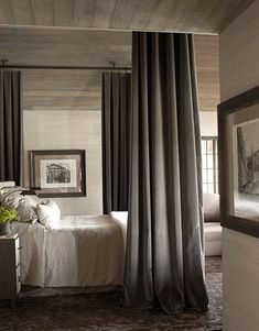 Dignified Master Bedroom Designer Susan Ferrier of McAlpine Booth & Ferrier Interiors decorated this Alabama lake house in a modern traditional style. In the formal master bedroom, Great Plains Cotton Velvet in Dusk drapes the bed; Gray Bedroom, Home Bedroom, Master Bedroom, Bedroom Decor, Bedroom Colors, Master Suite, Gray Rooms, Pretty Bedroom, Stylish Bedroom