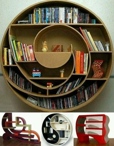 Not only is this a really cool bookshelf, it looks like the secret door to a hobbit hole.
