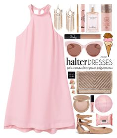 """Shoulder Show: Halter Dresses"" by palmtreesandpompoms ❤ liked on Polyvore featuring MANGO, Sigerson Morrison, Chelsea28, Rock Revival, tarte, Victoria's Secret, NARS Cosmetics, Cultural Intrigue, Armour and Blanc & Eclare"