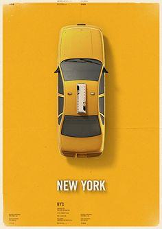 City cab poster - NEW YORK | Mehmet Gozetlik