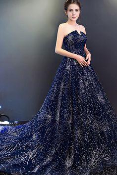 5b0fb7f5 Navy Blue A Line Court Train Curve Sleeveless Sparkle Starry Night Long  Prom Dress,Party Dress P182