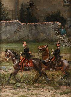 Le Général d'Auvergne, chef d'état major de la Garde impériale, accompagné du commandant Leperche, du corps d'état major, lors de la bataille de Rezonville