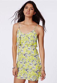 Leora Floral Print Frill Strappy Dress - Mini Dresses - Missguided