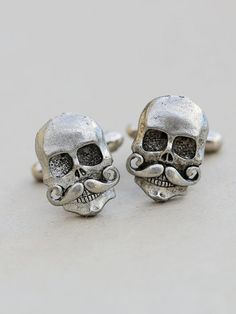 Jewelry Gift,Skull With Mustache Cufflinks Silver Plated Metal Vintage Inspired Style Antiqued Finish Men's Cuff Links & Accessories