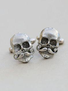 ... Mens Skull With Mustache #Cufflinks.