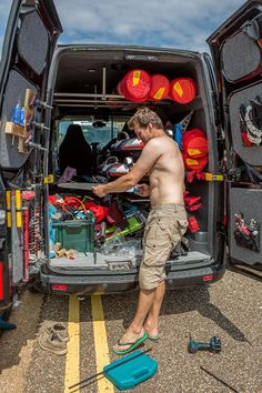 Windsurfing vans are all about organisation! #windsurfing #travel #tips vans - actiontripguru.com