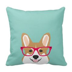Corgi with Glasses - Hipster Dog, Cute Corgi GIft Throw Pillow