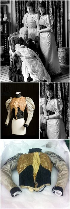 Bodice, by Madame Fromont, Paris, c. 1894. From a dress worn by Princess Alexandra of Wales to the christening of her grandson, Prince Edward of York, the future King Edward VIII, in 1894. The sleeves are fashioned from purple (faded to grey) silk satin covered in small black polka dots. The front of the bodice is formed of a panel of ivory silk satin covered in needlelace with a bold floral motif. The collar, waist and cuffs are trimmed with black silk moiré. CLICK THROUGH FOR BIGGER…