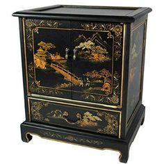 Oriental Furniture Japanese End Table - Black Landscape $498.00 Amazon