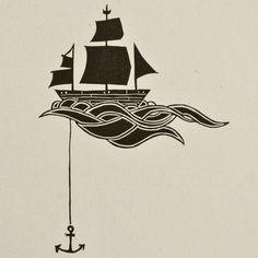 Verankerten Schiff Linolschnitt Block drucken von sappling auf Etsy