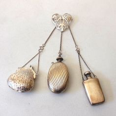 Sterling Silver Chatelaine Brooch w/ Perfume & Purse & Flask