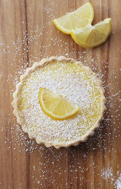 Lemon Tart. Mom used to make these amazing lemon tarts and she would put strawberry, kiwi, Mandarin oranges on top and glaze with a warmed jam. They were amazing and I don't like tart stuff! Maybe I'll give these a try!