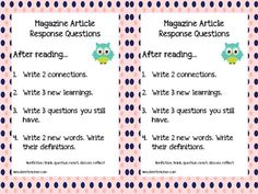 Free Nonfiction Reading Response Questions