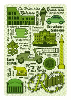 Roma Poster by GERALDESIGN , via Behance  http://www.behance.net/gallery/Graphismes/3167916  By on Etsy: https://www.etsy.com/listing/100025348/roma-poster?ref=v1_other_1