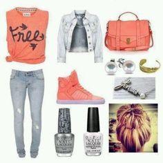 Peach n gray