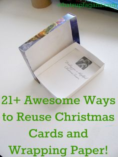 DIY Recycling Christmas cards (or old Holiday cards) and wrapping paper. It's both frugal and a great way to beautify your home for free or cheap! Save and create!