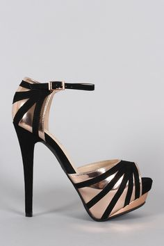 Anne Michelle Suede Striped Stiletto Platform Heel
