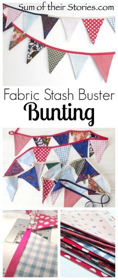 A fun way to use those little fabric scraps that you can't bear to throw away. easy to make washable bunting for indoors or out