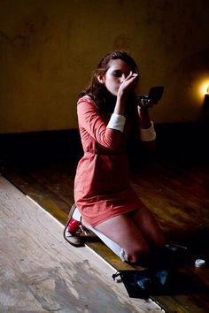 Kara Hayward on the set of Moonrise Kingdom.