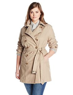 Jones New York Womens PlusSize Double Breasted Trench Coat Beach Tan 3X ** See this great product. (Note:Amazon affiliate link)