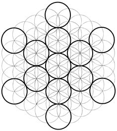 This shows the Fruit of Life inside of Metatron's Cube, and both of them inside the Flower of Life.