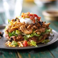 Low-fat Chicken Tostadas with Black Bean Salsa, from Diabetic Living