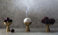 Modern sculptural incense burner / vase in ceramic and brass. Censer | Designed by Apparatus Studio