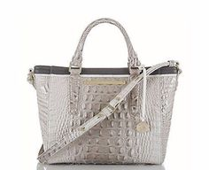 BRAHMIN HANDBAG MINI ARNO TOTE BAG PALOMA TRI TEXTURE CROSSBODY LIGHT GRAY #Brahmin #MessengerCrossBody
