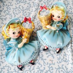 Vintage Pair of Lefton Miss Dainty Wall Pockets in Blue with Bonnets