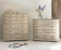 Our Aurélie chest of drawers is handmade from beached timber with lovely vintage-feel handles. It goes wonderfully with all our French furniture.