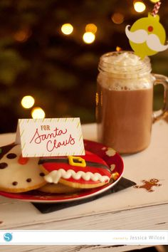 cookies for Santa place cards & straw toppers by Jessica Wilcox