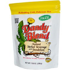 The best coffee alternative, healthy and tasty. Dandy Blend is the only herbal coffee substitute that features smoothness and texture of real coffee. Dandelion Coffee, Dandelion Benefits, Coffee Nutrition, Friday Coffee, Coffee Substitute, Chicory Root, Blended Coffee, Instant Coffee, Raw Vegan