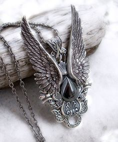 Gothic Pendant Wings Silver Hematite Goth Jewelry mens by Aranwen, €70.00