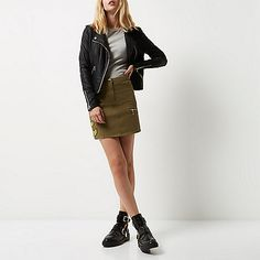 Khaki military patch skirt