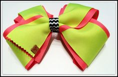 Neon Yellow and Pink Mega Bow